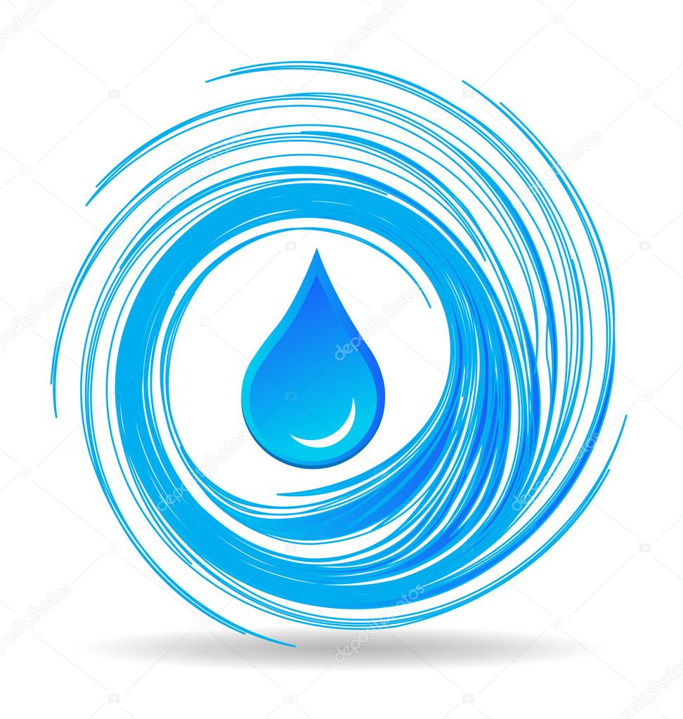 Water drop and waves