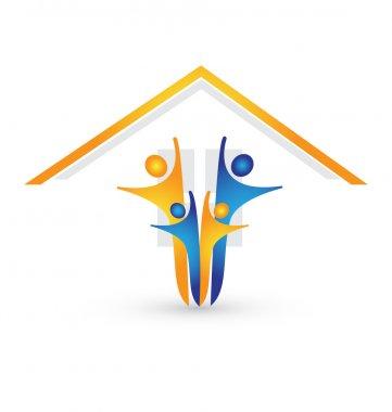 House and happy family logo vector