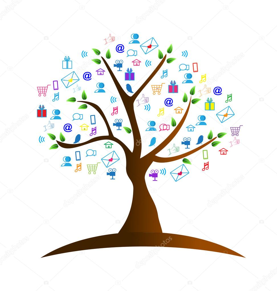 Tree and networking symbols logo