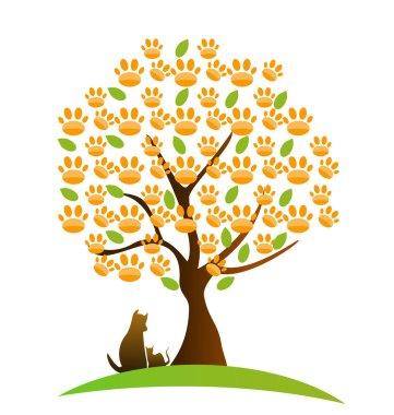 Cat , dog and footprint tree logo