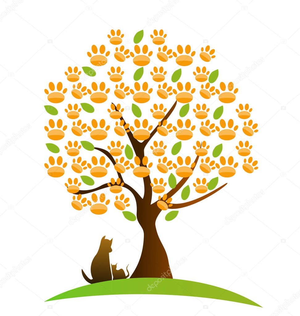 Cat , dog and footprint tree logo