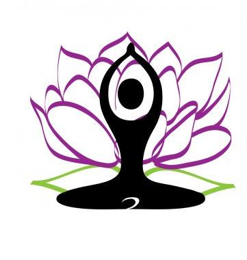 Yoga figure and lotus flower logo