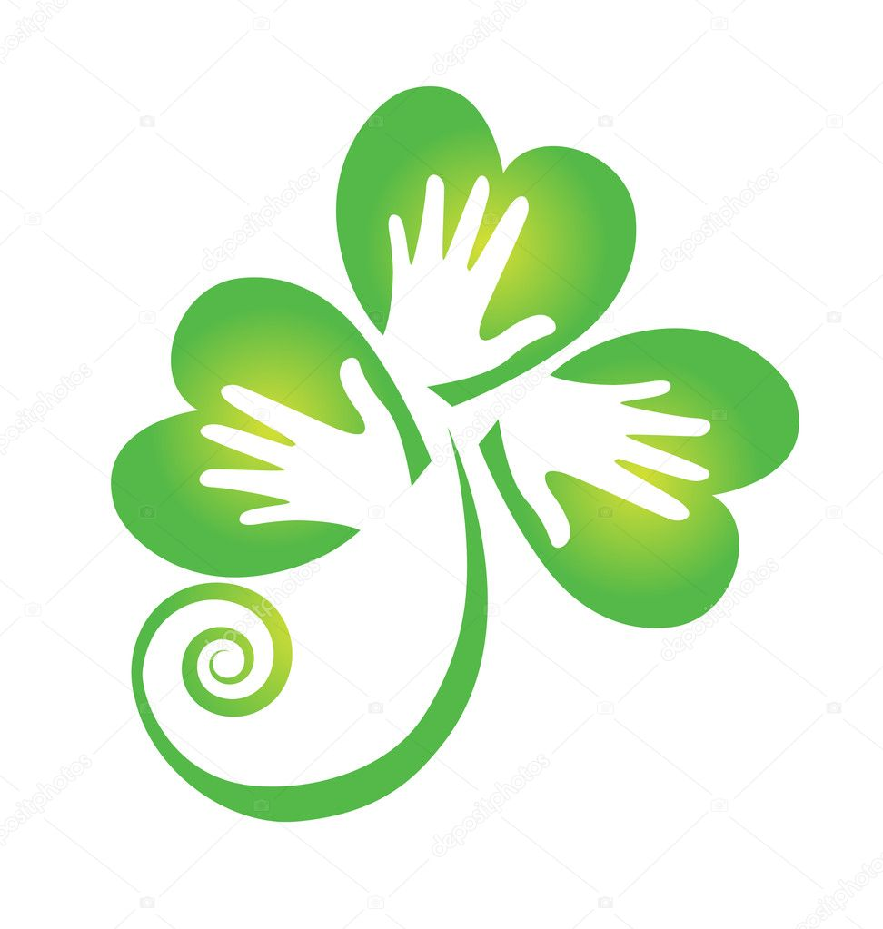 Clover hands logo vector