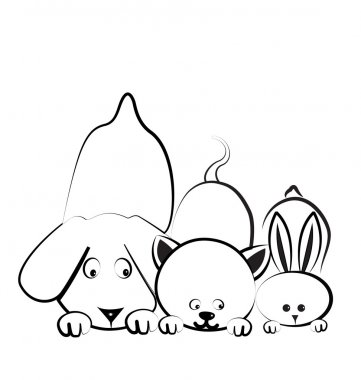 Dog cat and rabbit silhouettes logo