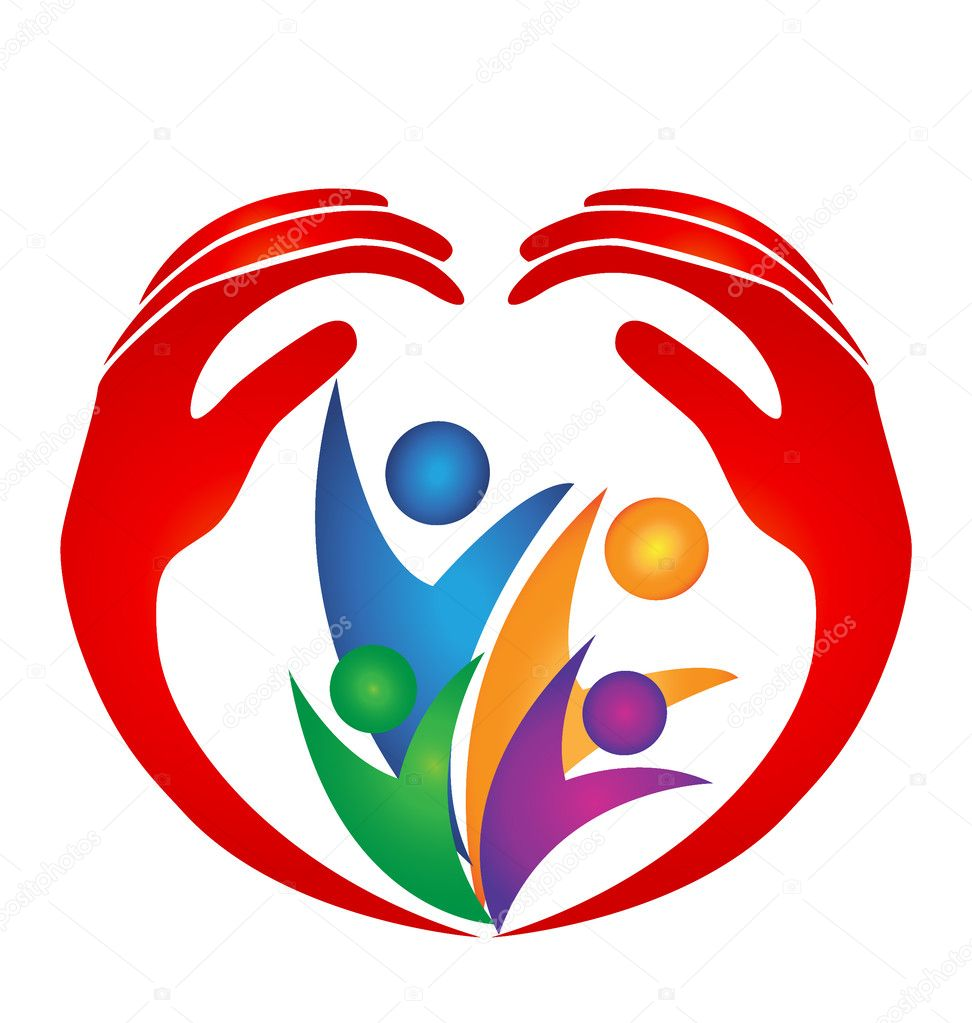 Family hands and heart shape logo stock vector glopphy for Logo clipart
