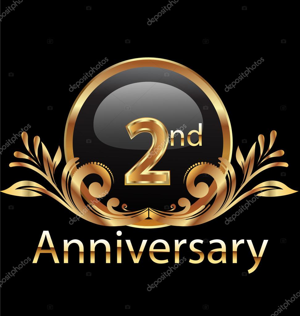 2 years anniversary birthday in gold stock vector glopphy 24849895