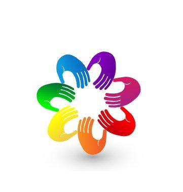 Colorful hands team logo illustration vector app
