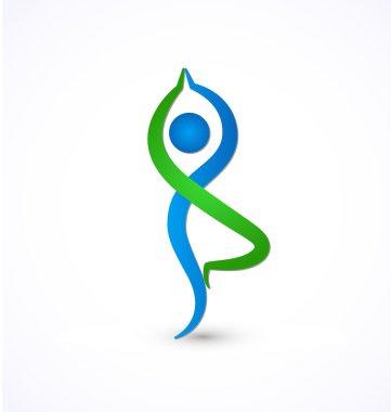 Yoga pose healthy life logo vector