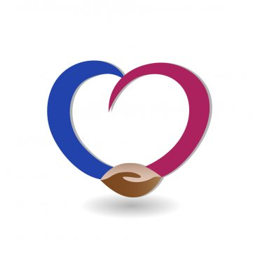 Handshaking with love logo vector