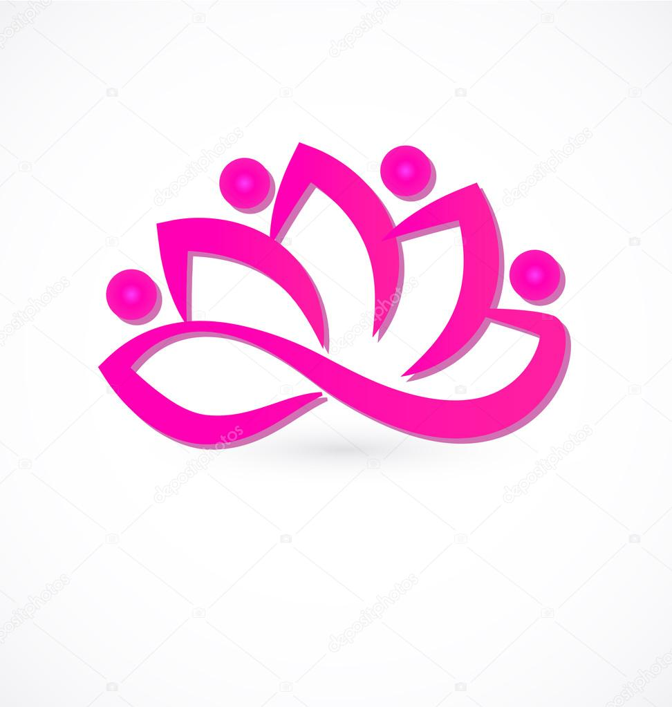 Pink lotus flower logo vector