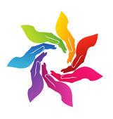 ruce pomáhá barevné logo vektorové