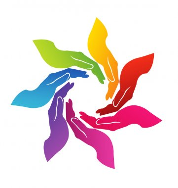 Hands helping colorful logo vector clip art vector