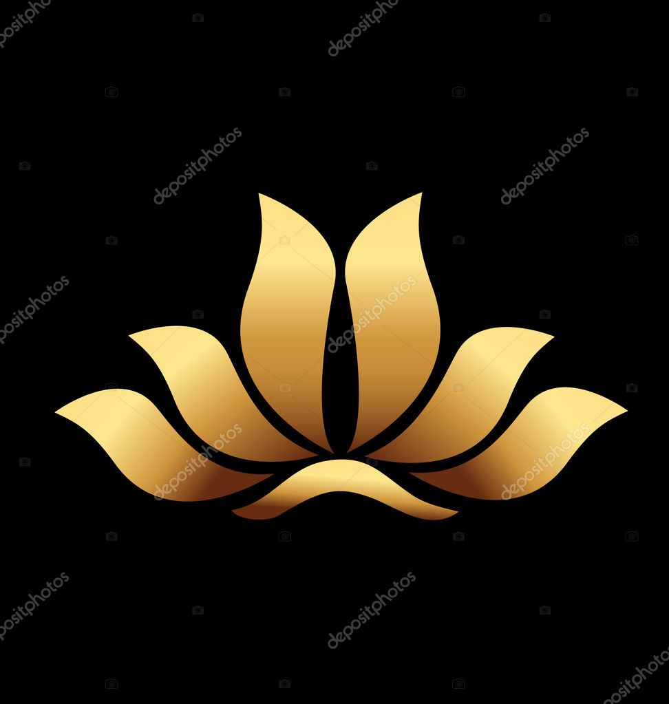 Set Of Yoga And Spa Logo Vector:  Vector Of Yoga Gold Lotus Flower Logo Stock Vector