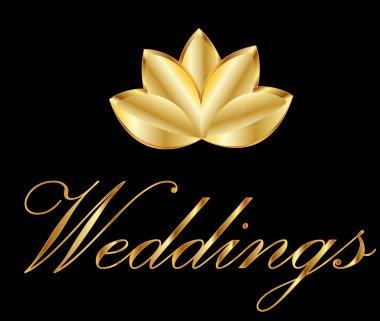 Golden lotus flower logo vector