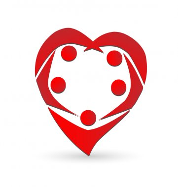 Teamwork in a heart shape logo vector