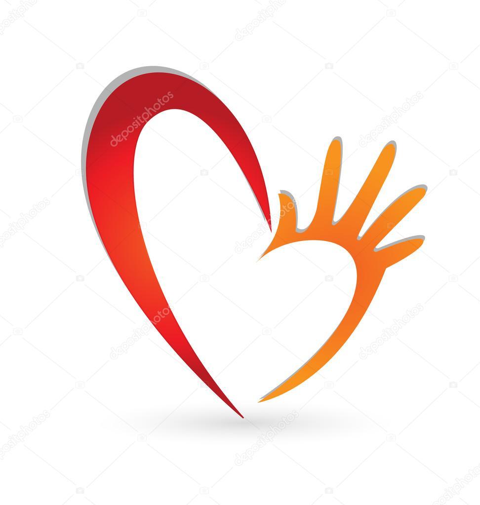 Help hands heart logo vector
