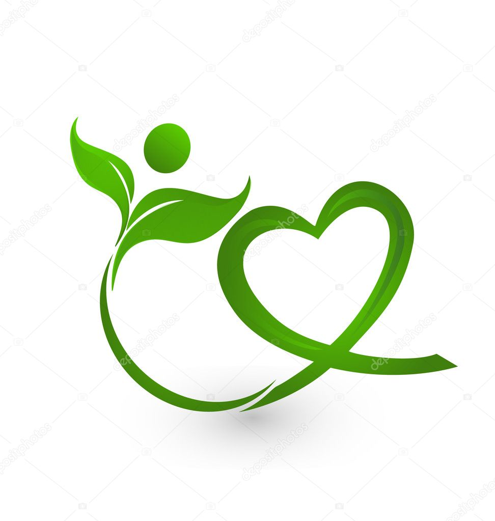 Vector of green nature with heart logo