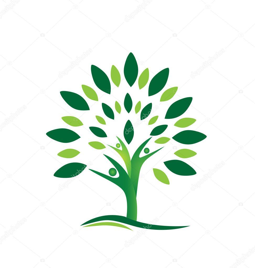 Teamwork people tree logo vector