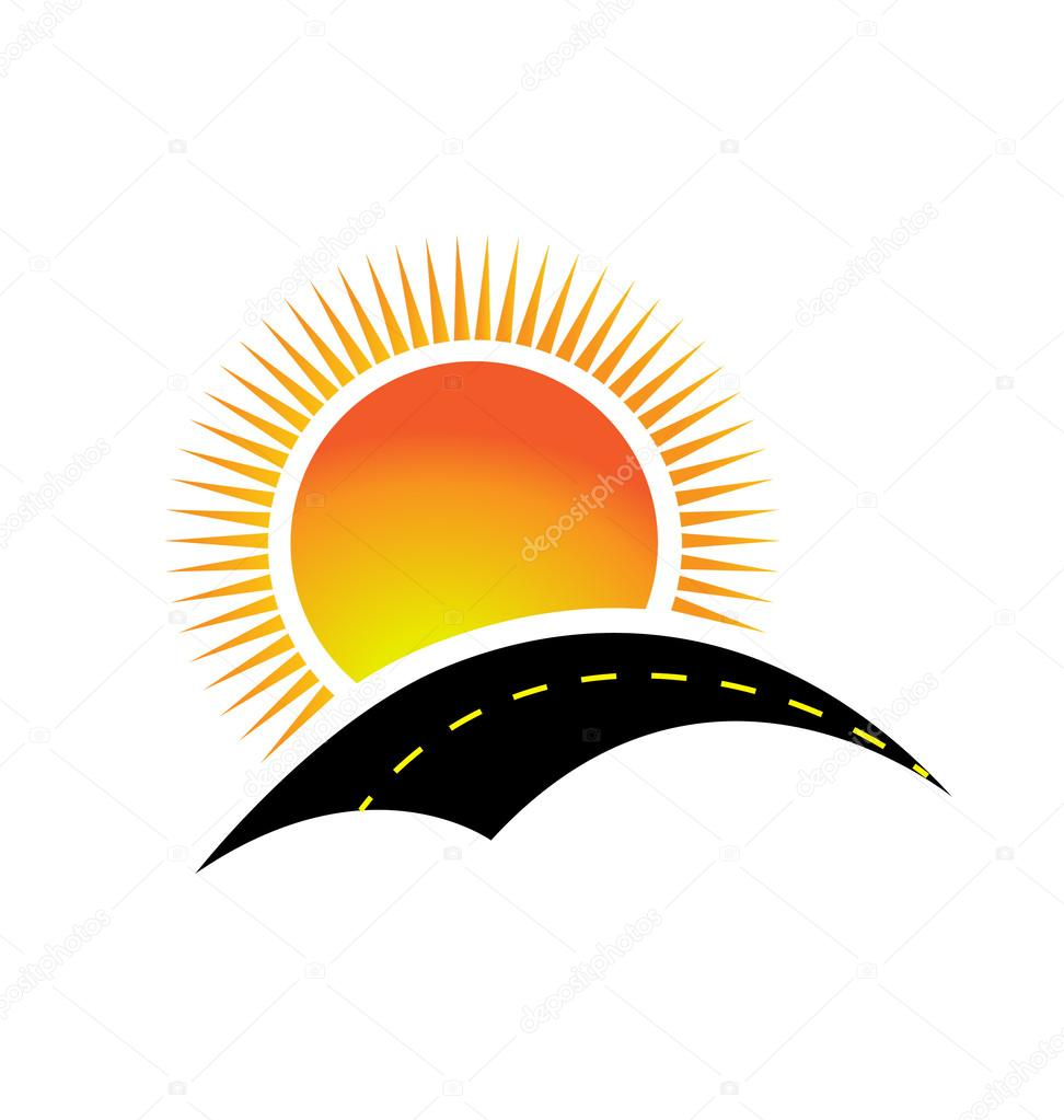 Vector of road and the sun logo design