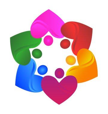 Teamwork union hearts logo vector