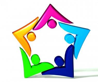 Teamwork swooshes star 3d logo