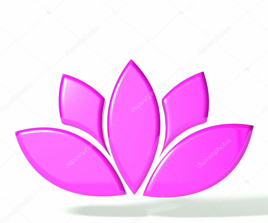 Pink lotus flower 3D logo
