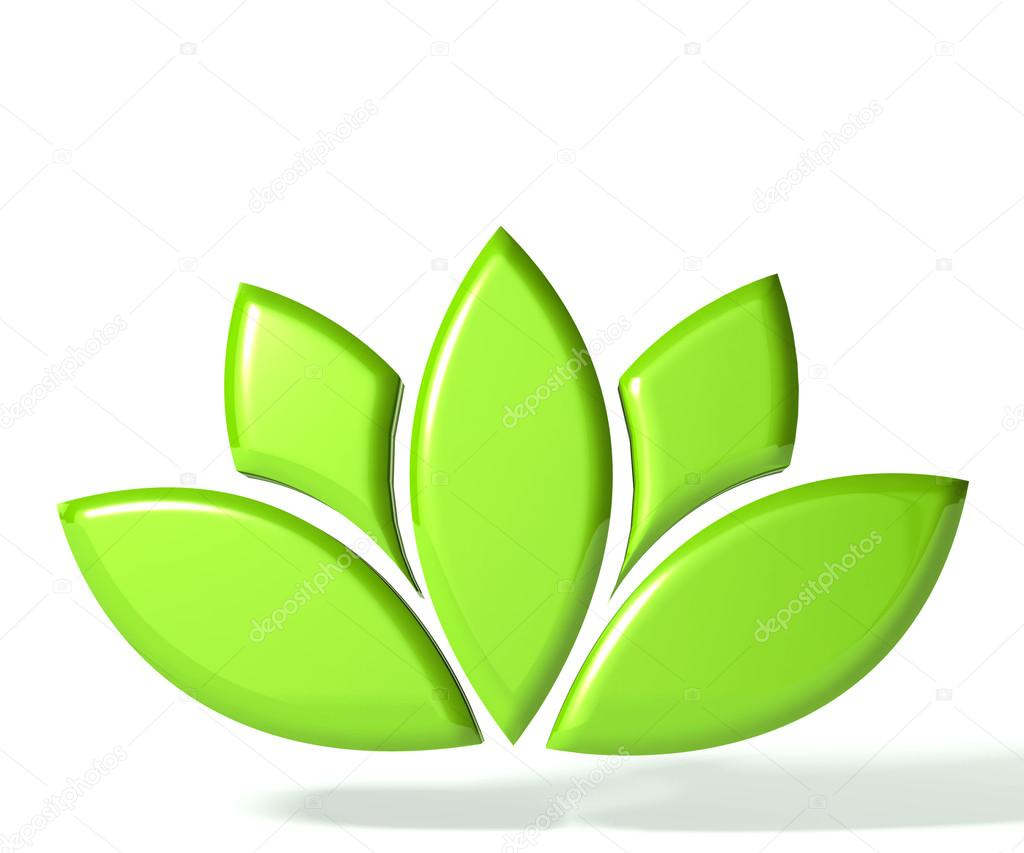 Green lotus flower 3D logo
