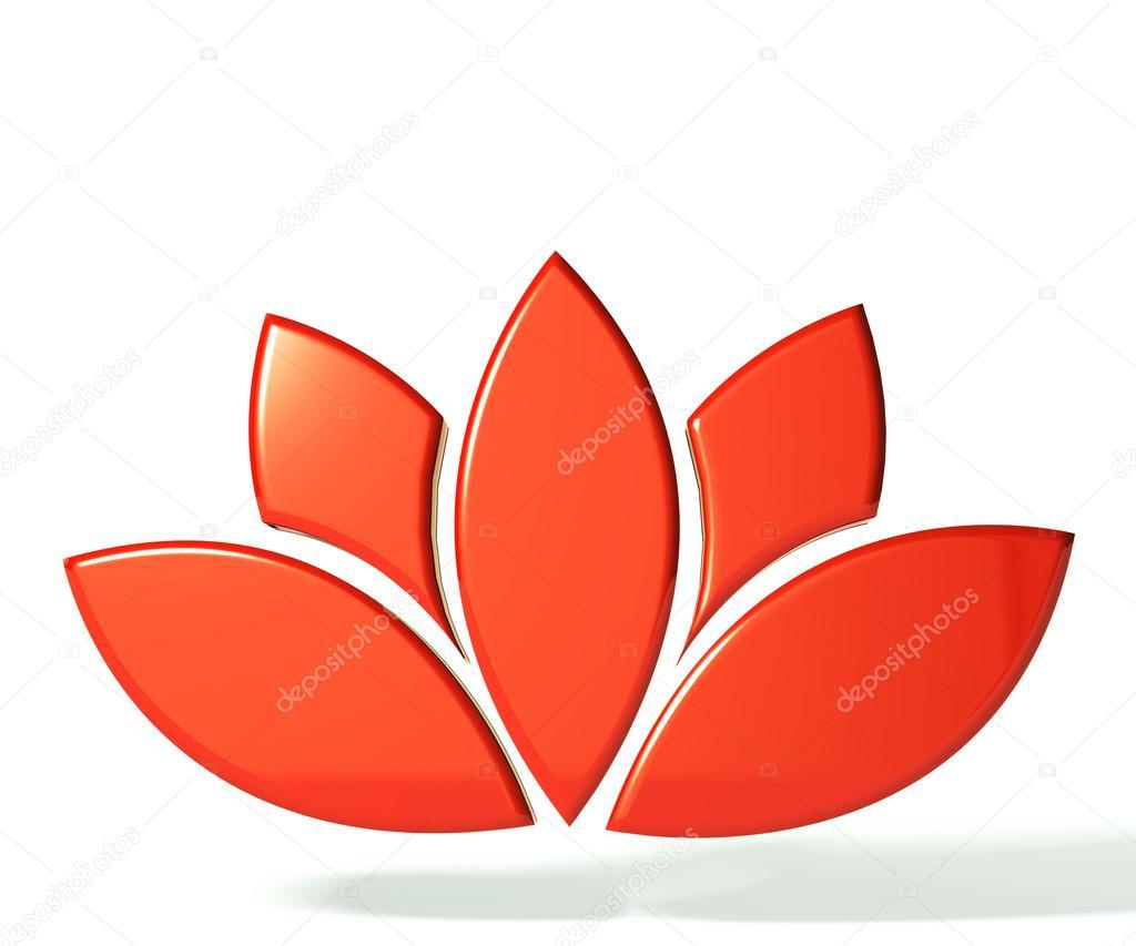 Red lotus flower 3D logo