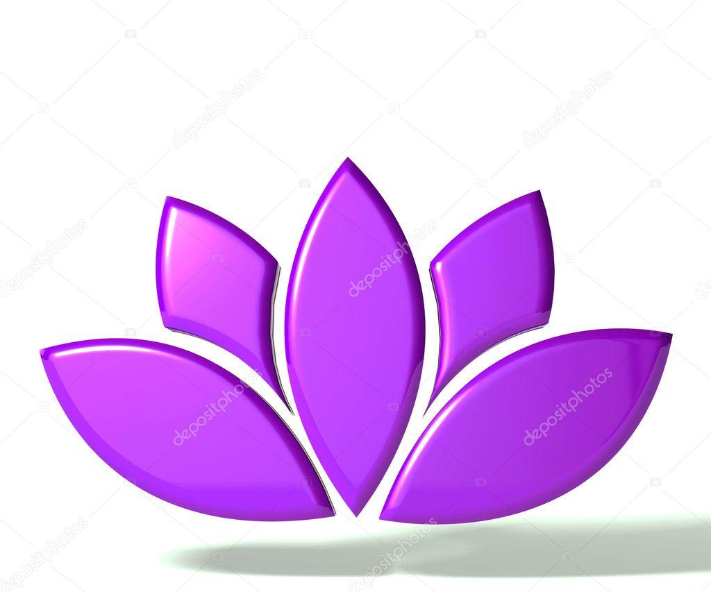 Purple lotus flower 3D logo