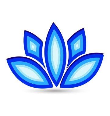 Blue lotus flower vector logo