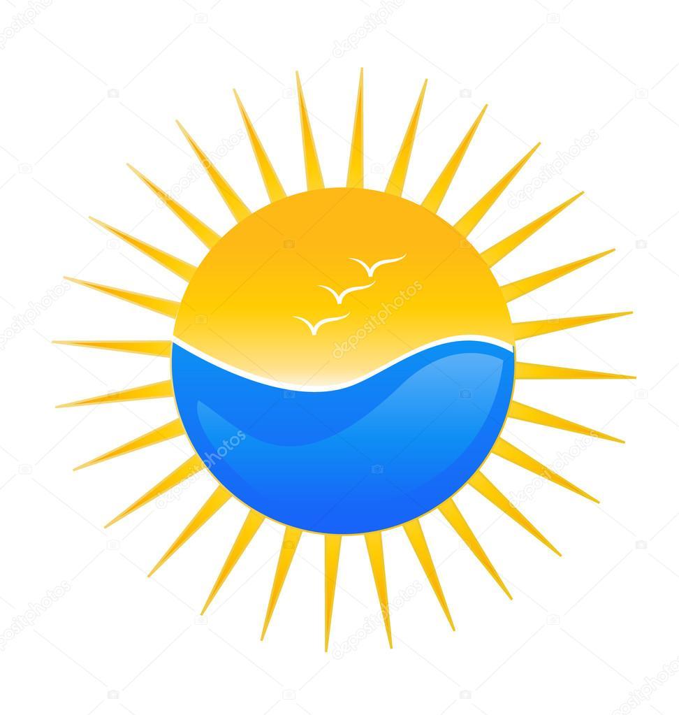 Beach and sun logo