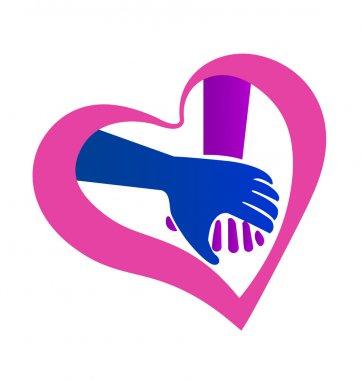 Holding hands heart shape