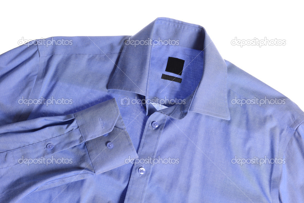 00af5ac58333 Μπλε πουκάμισο που απομονώνονται σε λευκό φόντο — Εικόνα από ...