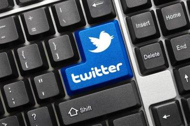 Conceptual keyboard - Twitter (blue key with logotype)