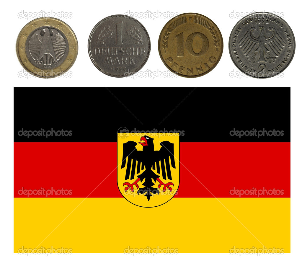Germany, coins and flag