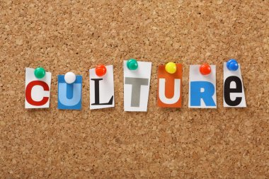 The word Culture in cut out magazine letters pinned to a cork board. Culture may refer to art or literature but also means the upkeep of tradition and often unique society values and beliefs. stock vector