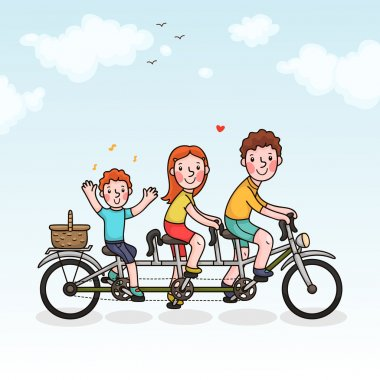 Family picnic parents and son tandem bicycle