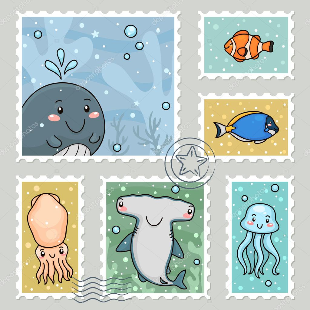 Stamp with sea animals