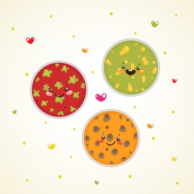 Cute bacteria in Petri dishes