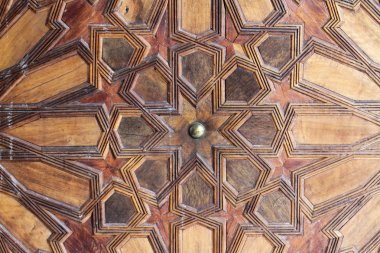 Ornamentation of a wooden door. The Great Mosque of Paris.