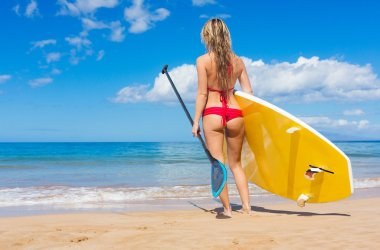 Woman with Stand Up Paddle Board