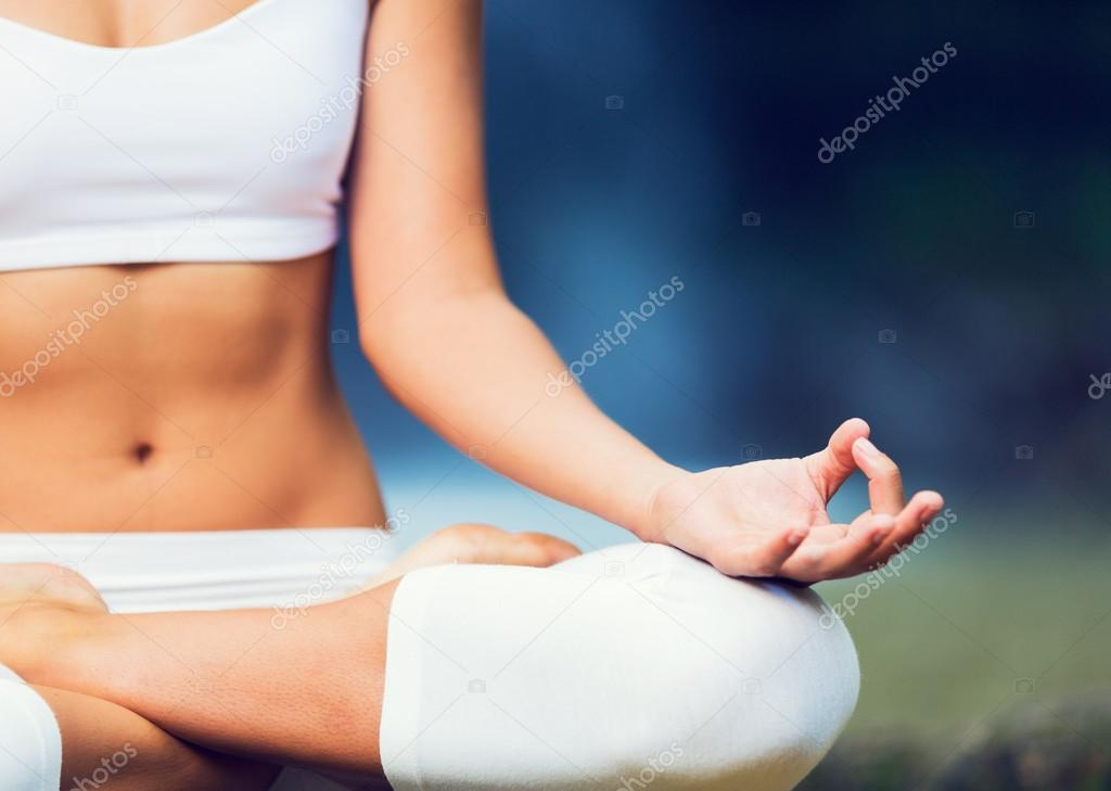 Beautiful Woman Practicing Yoga Outside In Nature, Healthy Lifestyle Wellness Concept, Shallow Depth of Field
