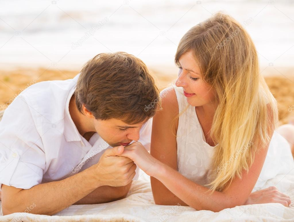 young couple in love man and woman enjoying romantic