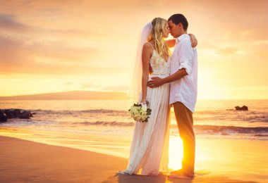 Bride and Groom, Kissing at Sunset on a Beautiful Tropical Beach, Romantic Married Couple stock vector