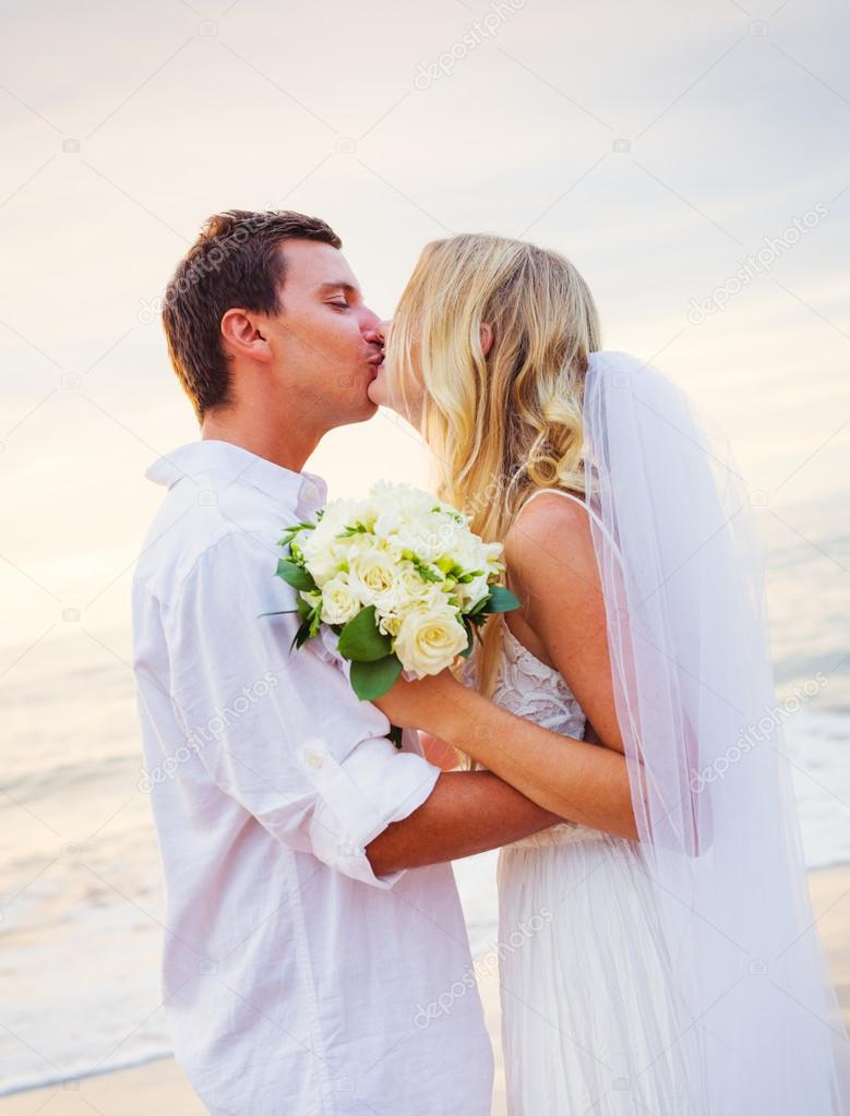 Bride and Groom, Romantic Newly Married Couple Holding Hands, Ju