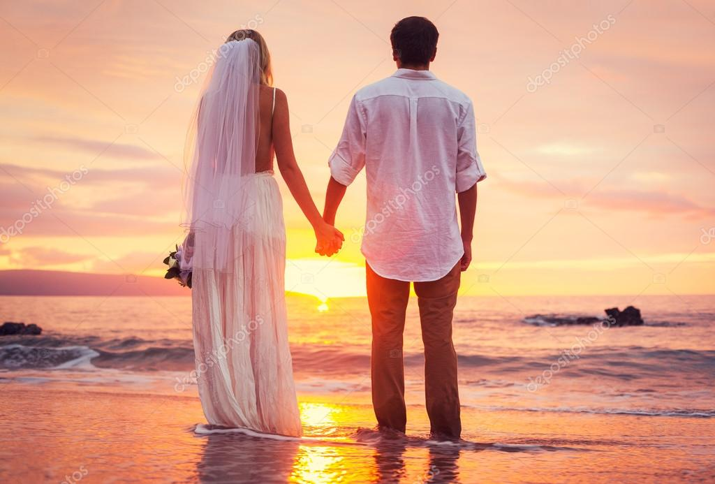 Bride and Groom, Beautiful Tropical Beach at Sunset, Romantic