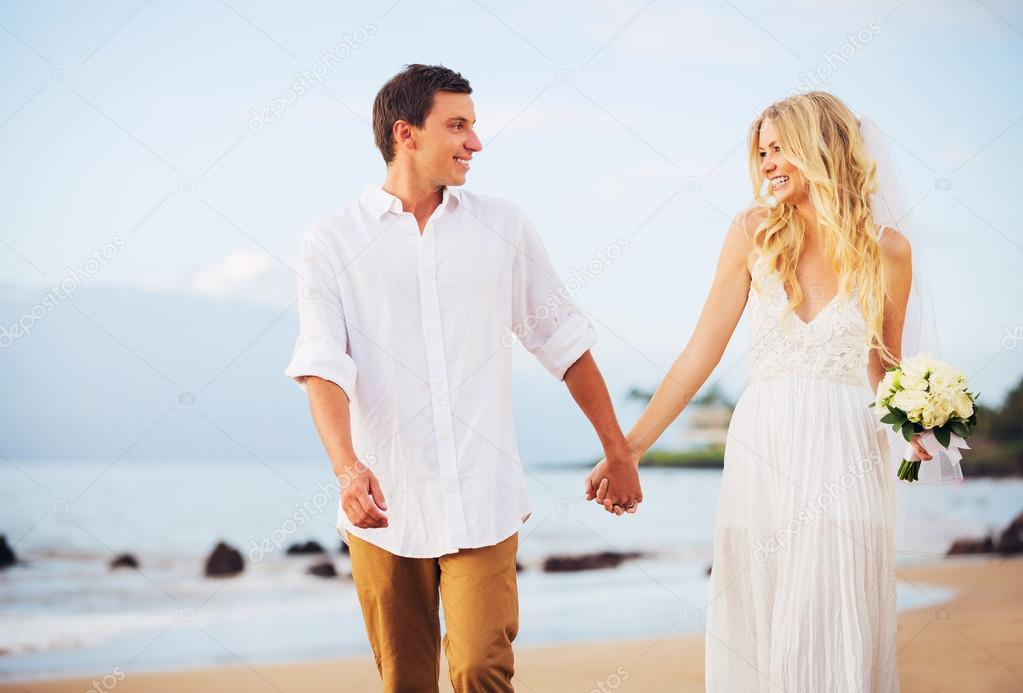 Bride and Groom, Romantic Newly Married Couple Holding Hands Wal