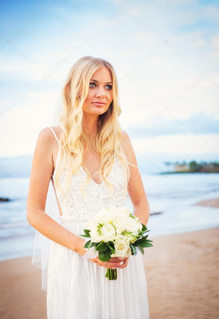 Beautiful Bride, Gorgeous Woman on Tropical Beach at Sunset with