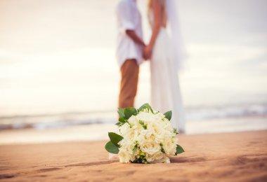 Just married couple holding hands on the beach, Hawaii Beach Wedding stock vector