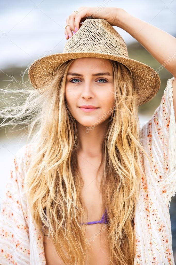 Fashion Lifestyle Attractive Woman In Hat Stock Photo